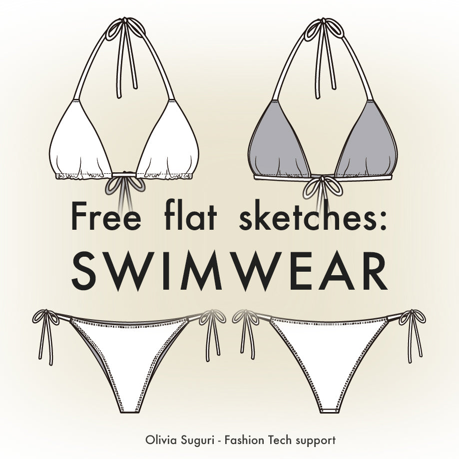 Free flat sketches: Swimwear