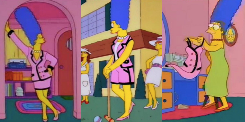 Marge Simpson pink Chanel suit