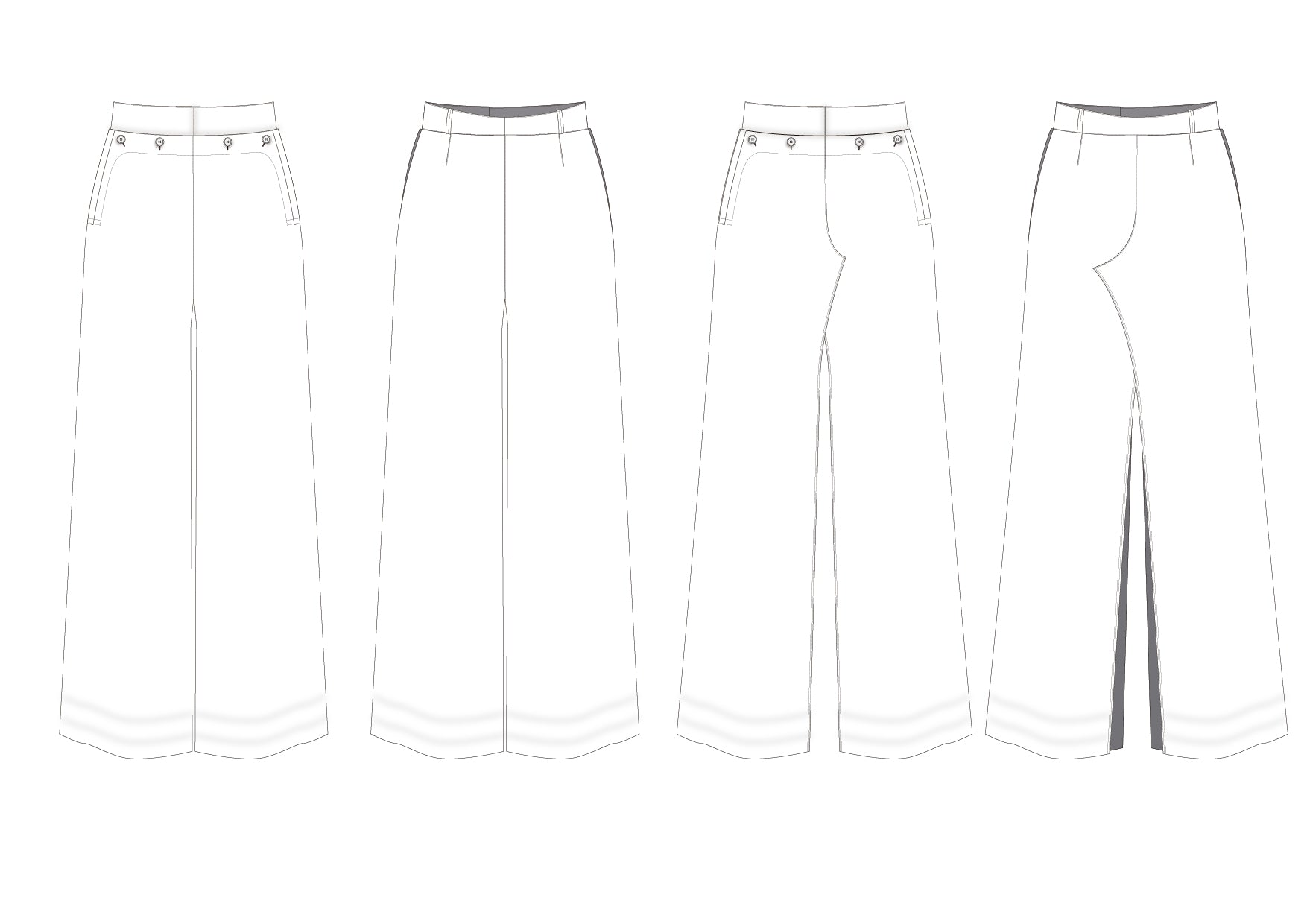 Flat sketches: trousers