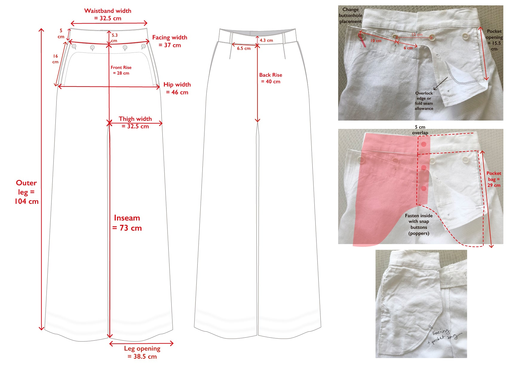 French sailor trousers - technical overview
