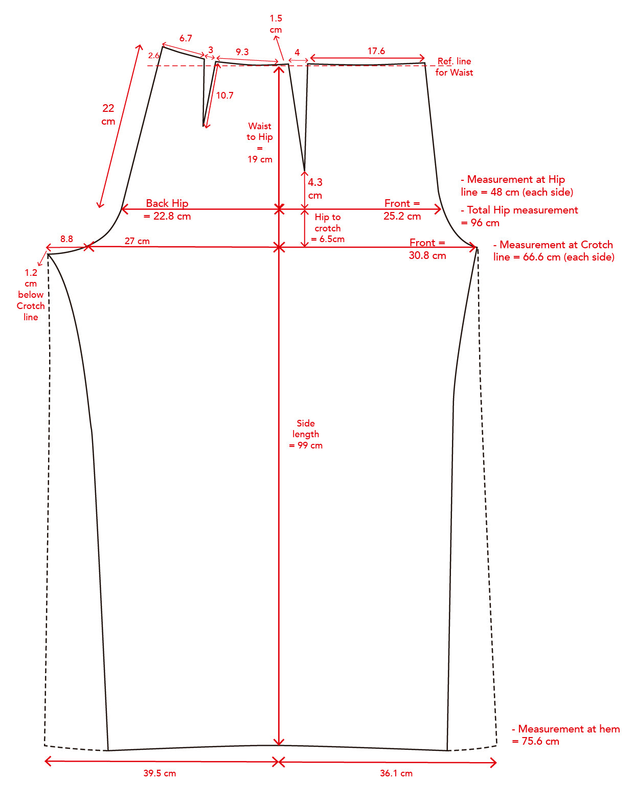 French sailor trousers - pattern draft