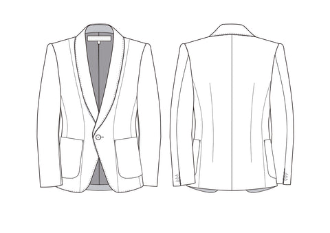 Junya Watanabe - vintage tailored jacket - flat sketches