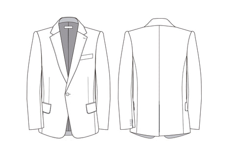 Classic men's tailored jacket - flat sketches