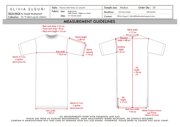 T-shirt dress: measurements