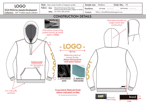 Tech pack sample (hoodie) - construction details