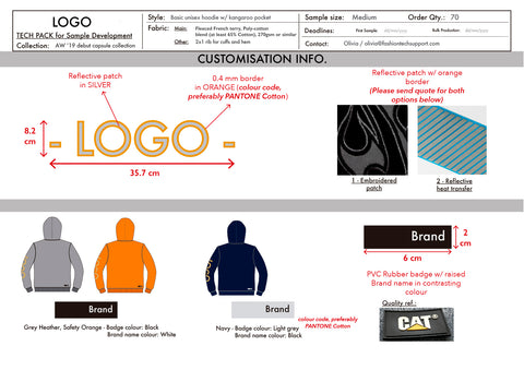 Tech pack sample (hoodie) - Customisation info