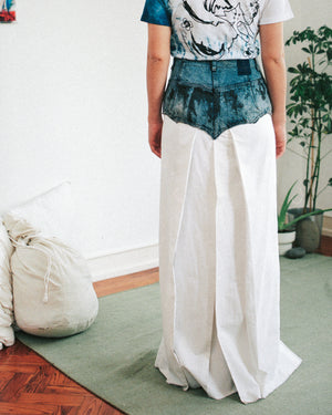 Hakama pants in upcycled denim and cotton canvas