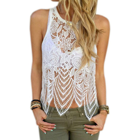 JECKSION Tank Top Crochet Women Tops Elegant Fittness Flower Embroidery Lace Vest Fashion Summer Sleeveless Shirt Clothing #YNQ