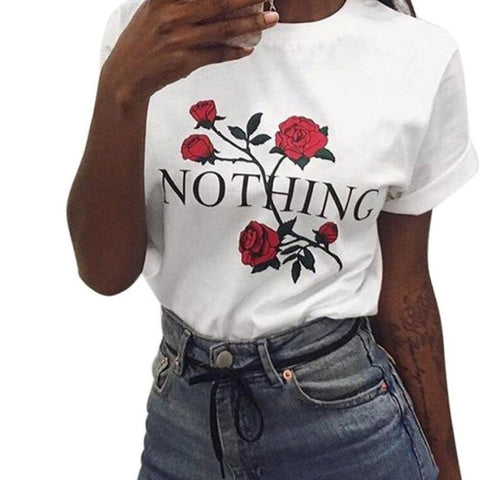 Nothing Letters Printing T Shirt high quality 2017 Summer Womens Rose Printing Loose Tops Short-Sleeved Cotton White Shirt