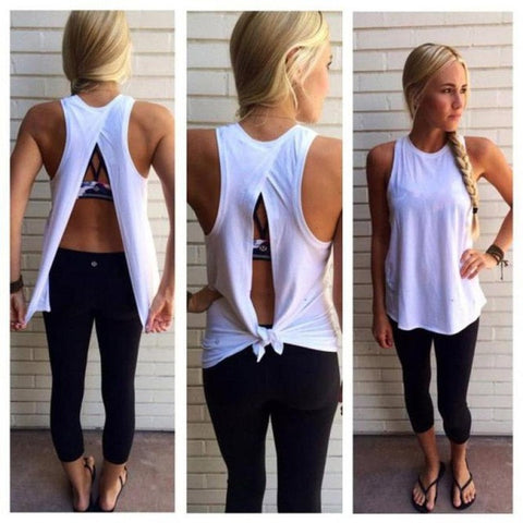 High Quality Women Summer Split back Cotton Vest Top Sleeveless White Blouse Casual Tank Tops Shirt#LSN