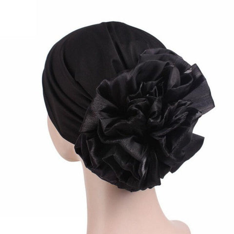 Winter Beanie Hat Women Hat Turban Head Wrap Cap Solid Fitted Big Flower Hat Feminino Beanies Hat