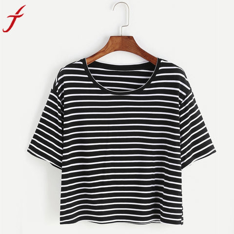 Womens T-Shirt 2017 Sexy Black And White Striped Crop shirt Tank Crop Tops Vest cropped feminino