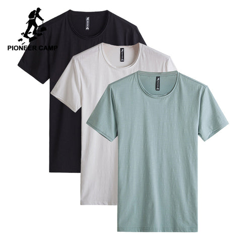 Pioneer Camp pack of 3 Solid men t shirt famous brand clothing o-neck mens t-shirts quality cotton stretch Tshirt male