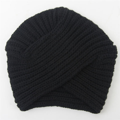 New Knitted Turban Hat For Women Winter Beanies Cap Fashion Ladies Indian Turban Caps Solid Headwear Autumn Men Skullies Hats