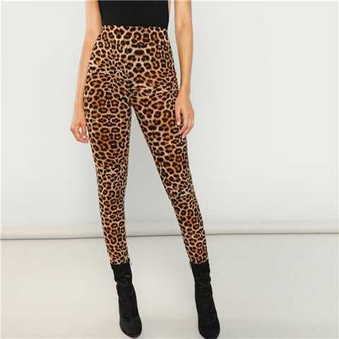 SHEIN Multicolor Sexy Highstreet Leopard Print Long Leggings 2018 New Autumn Women Casual Pants Trousers