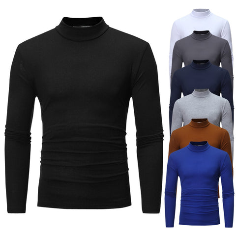 Men's Autumn Winter Pure Color Turtleneck Long Sleeve T-shirt Top Blouse