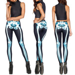 Fashion skeleton digital printing leggings elastic fitness pants ladies leggings
