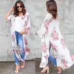 New Women Floral Chiffon Cardigan Kimono Long Sleeves Split Holiday Beach Loose Outerwear White