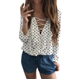 Women Ladies Long Sleeve Loose Blouse Spring Autumn Polka Dot V Neck Shirt Tops