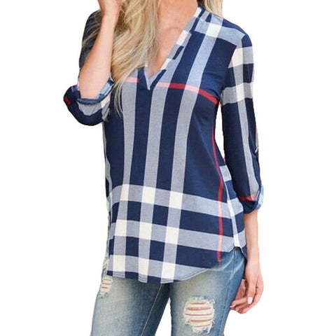 Fashion Trend Plaid V-neck Cropped Sleeve Top
