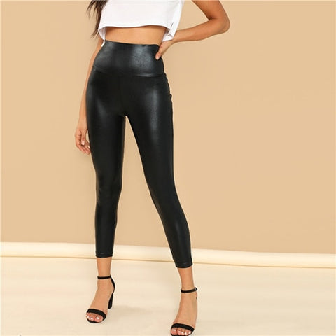 SHEIN Modern Lady Crop Black Coated Crop Polyester Leggings Women Autumn Plain Casual Stretchy Streetwear Pants Trousers