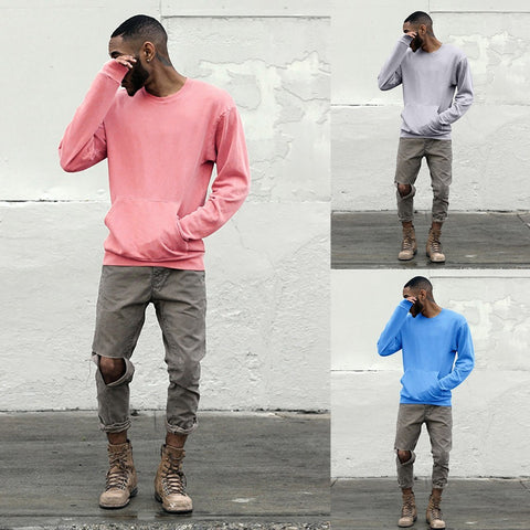 Men Casual Autumn Solid Color Loose Pocket Long Sleeve Tops Blouse Shirts