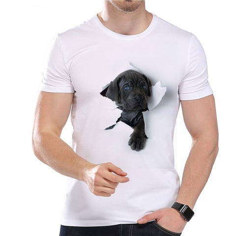 Summer Super Cute 3D Dog Design T Shirt Men's Funny Animal Graphics Printed Tops Hipster Tees