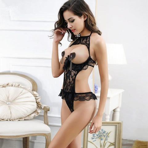 Sexy lingerie hot exposed breasts bow erotic lingerie Bra Crotchless teddy sexy underwear set