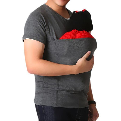 Mens Dad Baby Carrier T Shirt Wrap Maternity Kangaroo Bag Care Bonding Shirt