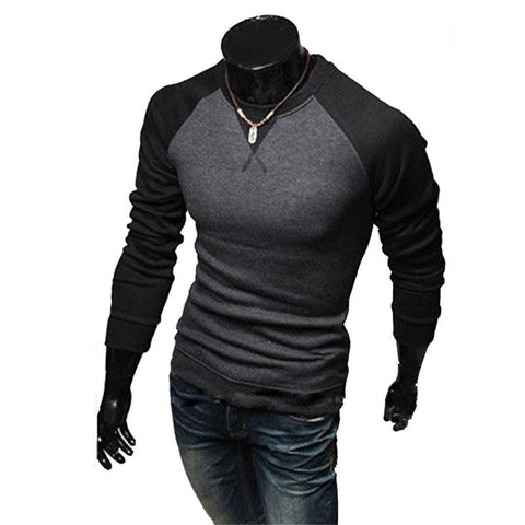 Men  Fashion Casual Slim Fit Crew neck Long Sleeve Tops Tee T shirt