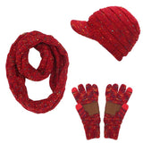 Warm 3 Pieces Set Winter Hats Scarf Gloves For Women Ponytail Beanie Hat Knitted Warm Cap Winter Accessories Set Female Beanie Scarf Gloves