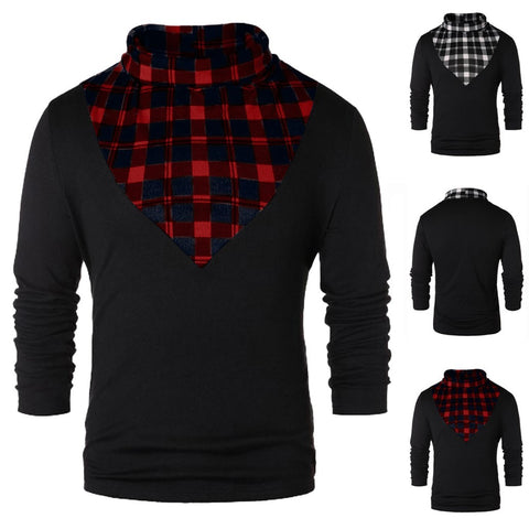 Men Spring Winter Casual Turtleneck Plaid Patchwork T-shirt Tops Blouses