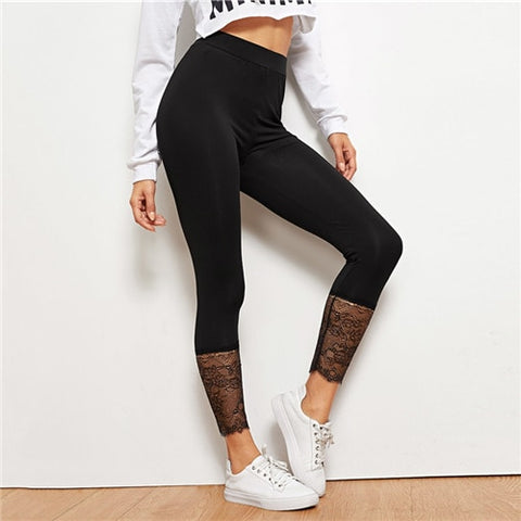 SHEIN Black Lace Contrast Solid Leggings Casual Plain Capris Highstreet Leggings Women 2019 Summer Streetwear Pants Trousers