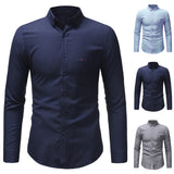 Men Spring Winter Casual Solid Color Long Sleeve Slim T-Shirt Top Blouse