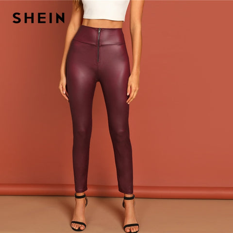 SHEIN Burgundy Exposed Zip Front High Waist Slim Fit Solid PU Leggings Women Spring Autumn Highstreet Casual Stretchy Leggings