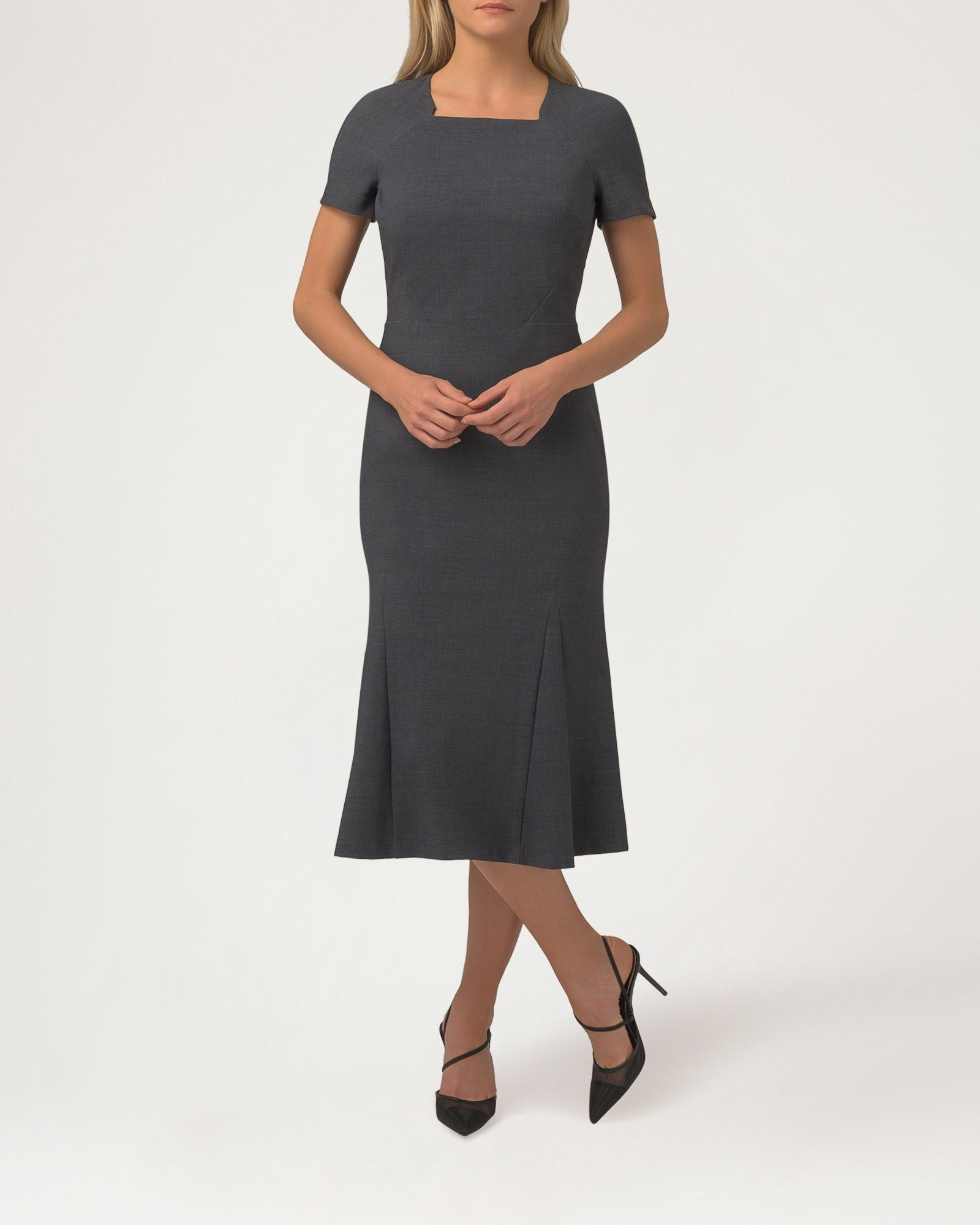 Notch Dress Charcoal