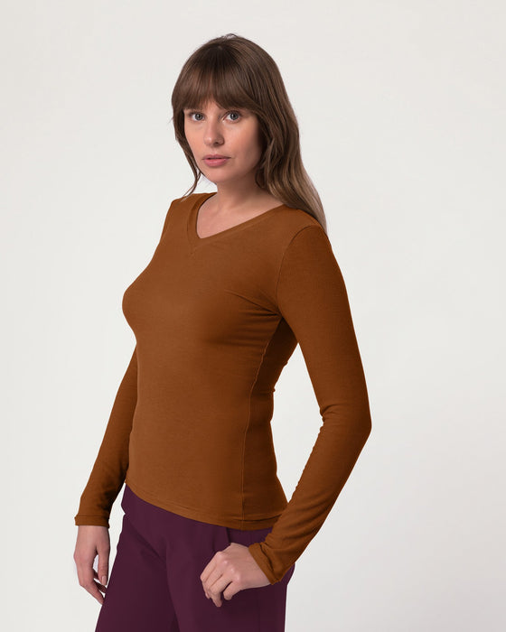 Eco V Neck Caramel