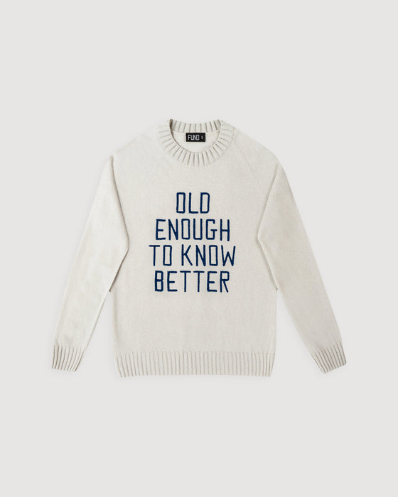 DAI x FUND Old Enough To Know Better Wool Jumper Ivory