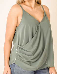 Chiffon Tank with Button Detail