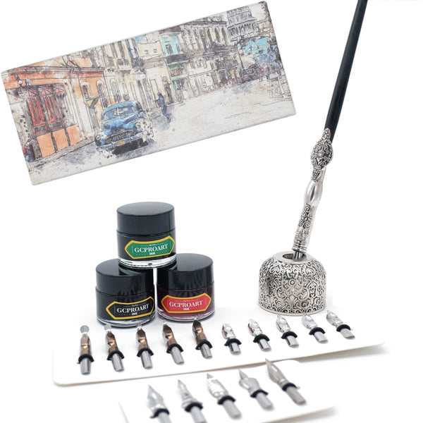 Calligraphy Pen Gift Set, Wooden Dip Pen with 16 Dip Nibs, 3 Ink Bottles and 1 Pen Holder, Calligraphy Set for Beginners