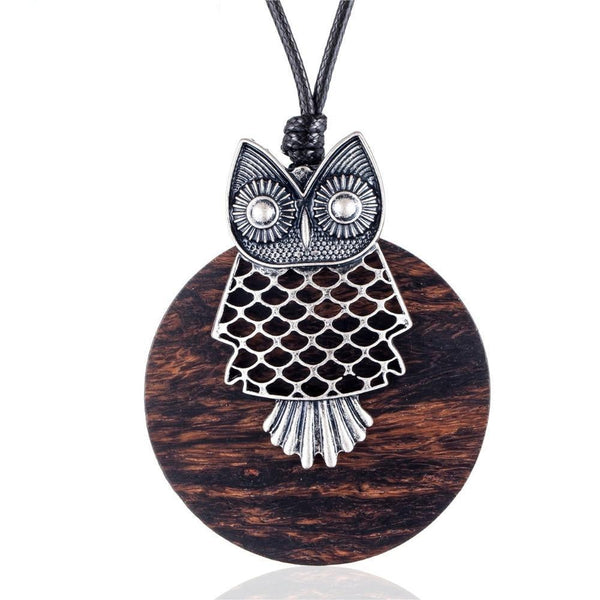 Vintage Sandalwood Owl Long Pendant Necklace