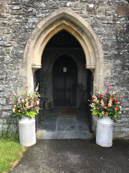 church entrance flowers