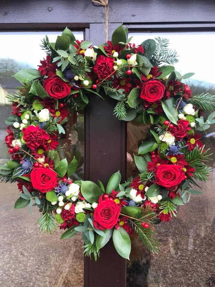 Large Fresh Floral Christmas Wreath