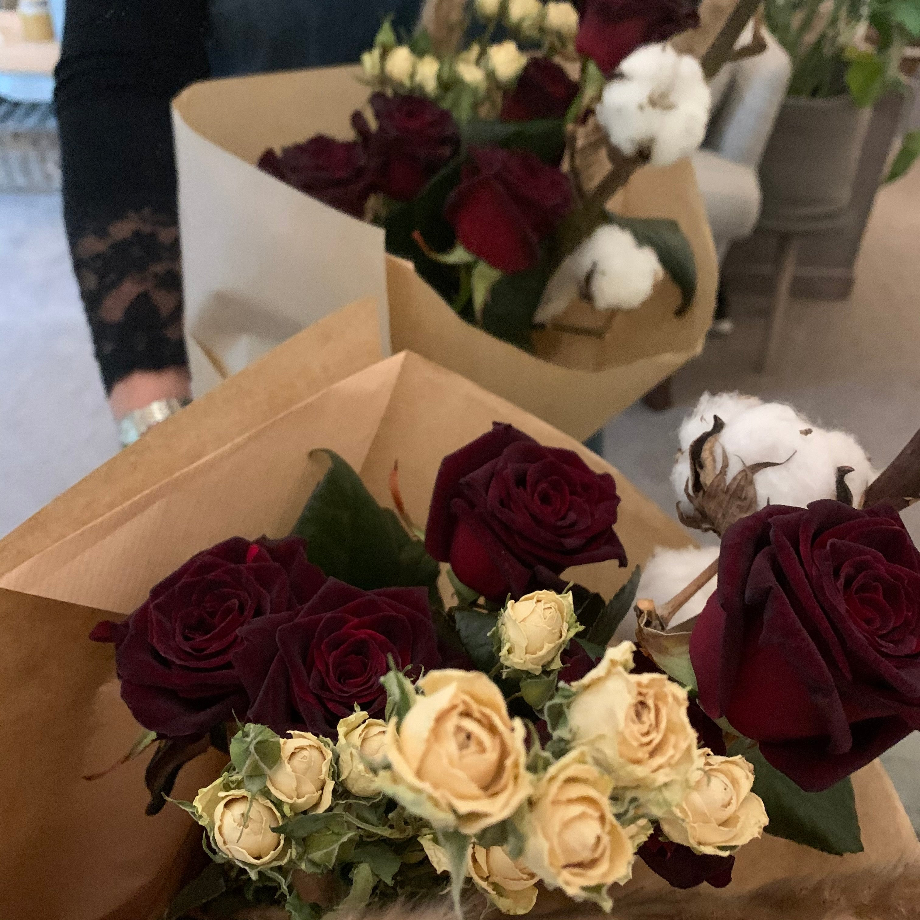 Fresh and dried Rose bouquet