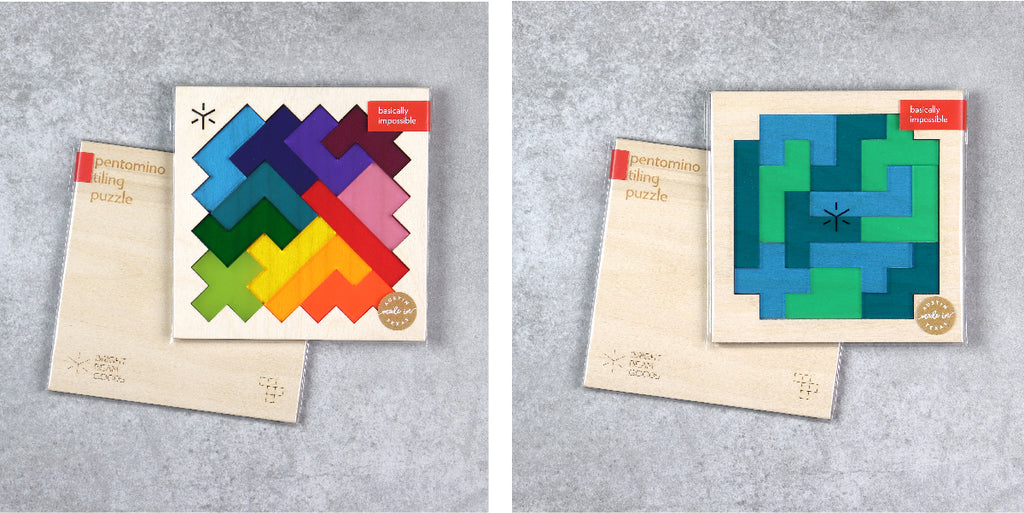 Rainbow and Earth Square Pentomino Puzzles