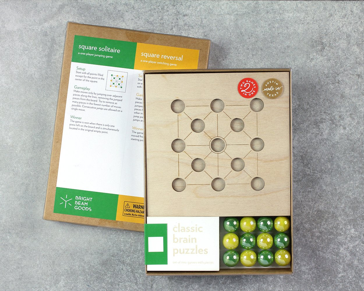 Square marble game in packaging