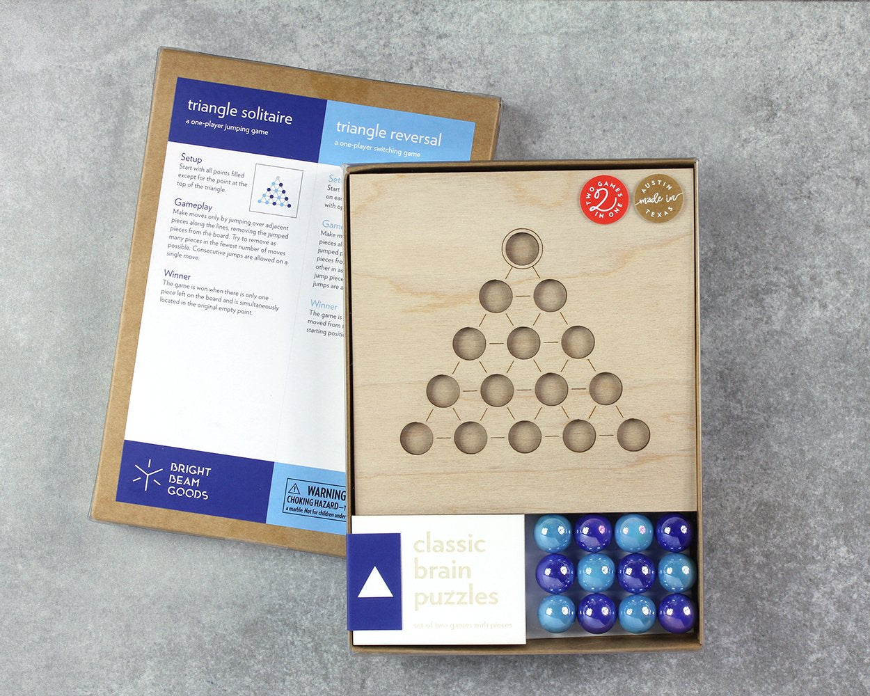 Triangle marble game in packaging