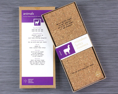 Animal mistaken lyrics coasters in box