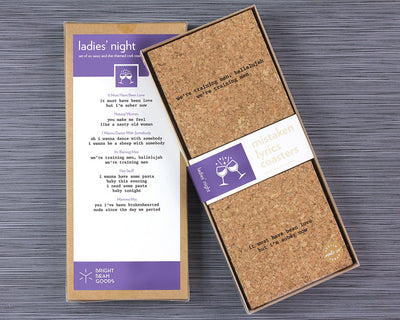 Ladies' night mistaken lyrics coasters in box