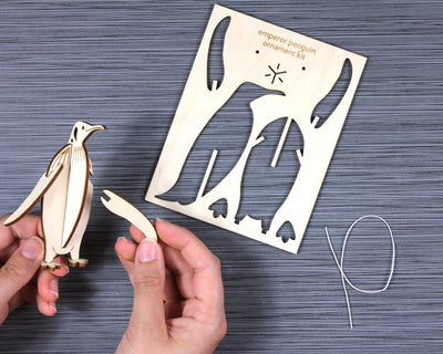 Unpackaged emperor penguin ornament kit